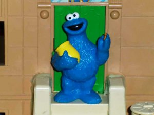 Fisher-Price Sesame Street Cookie Monster with Jar PVC Figure Mattel Loose Used