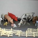 Plastic Toy Farm Animals and Fences Lot of 18 Various Sizes Loose Used