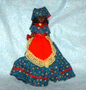 Vintage 7 1/2&quot; African-American Doll with 1800&#039;s Type Dress Loose Used