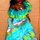 "Vintage 10 1/2"" African-American Doll with Hawaiian Dress Loose Used"