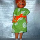"Vintage 7 1/2"" Blonde Girl Doll with Homemade Green and White Dress Loose Used"