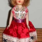 "Vintage 7.5"" Doll with Patriotic Dress Loose Used"