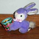 "Dan Dee 6"" Purple Easter Bunny with Basket Rabbit Loose Used"