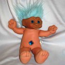 Blue Haired Treasure Trolls Dolls 1991 Ace Novelty Loose Used B