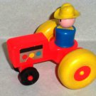 Fisher-Price Little People Farm Red Tractor with Large Yellow Wheels and Farmer Figure Loose Used