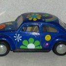 Kinsmart 1967 Classic Volkswagen Beetle Blue Flower Design 1:32 Scale VW Classical Loose Used