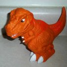 "Orange T-Rex 7 1/2"" Plastic Toy Dinosaur Loose Used"