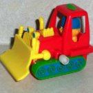 Plastic Wind-Up Bulldozer Red Green and Yellow Loose Used