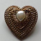 Vintage Gold Tone Heart Shaped Brooch with Faux Pearl