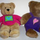Hallmark Love & Kiss Kiss Bears Boy and Girl Stuffed Plush Toy No Swing Tags Loose Used