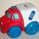 Playskool 2004 Wheel Pals Red and White Ambulance Truck with Blue Wheels Loose Used