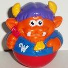Playskool 2004 Weebles Orange Monster in Blue Jacket Figure Hasbro Loose Used