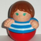 Playskool 1997 Weebles Boy Wearing Blue & White Striped Shirt Figure Hasbro Loose Used