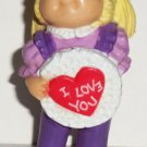 Cabbage Patch Kids 1984 Blond Girl with Valentine & Purple Outfit PVC Figurine Loose Used