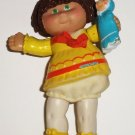 Cabbage Patch Kids 1984 Brown Haired Girl in Yellow Dress Poseable Figure Loose Used