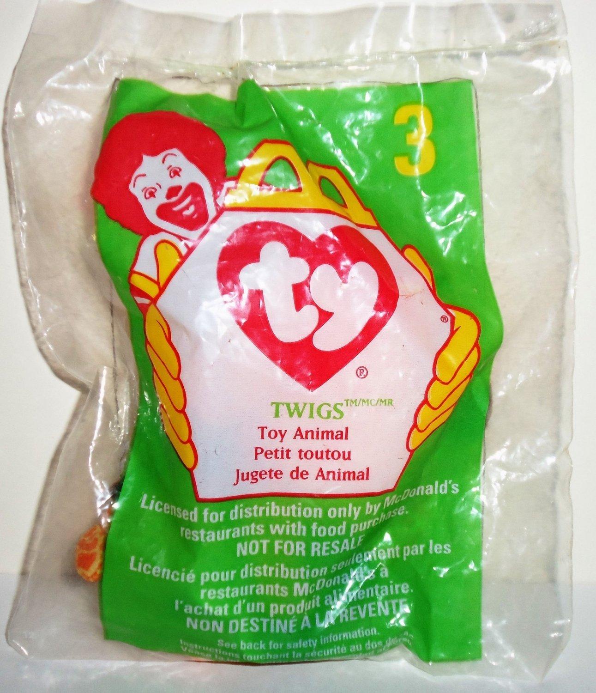 McDonald's 1998 Ty Teenie Beanie Babies #3 Twigs the Giraffe Happy Meal Toy in Original Packaging