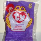 McDonald's 1998 Ty Teenie Beanie Babies #6 Happy the Hippo Happy Meal Toy in Original Packaging