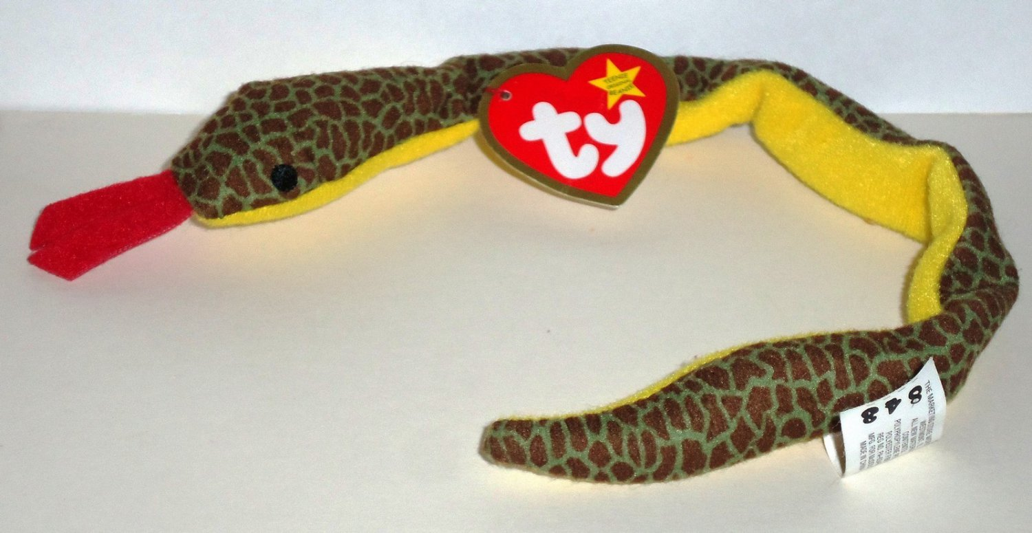 1af06346c9e McDonald s 2000 Ty Teenie Beanie Babies Slither the Snake Happy Meal Toy  Creased Swing Tag Loose