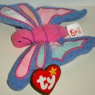 McDonald's 2000 Ty Teenie Beanie Babies Flitter the Butterfly Happy Meal Toy Creased Swing Tag Loose