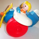 Fisher-Price #171 Pull-Along Plane 1980 No Pull String Loose Used