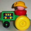 Fisher-Price Chunky Little People Green Tractor &  Farmer Figure 1990 Loose Used