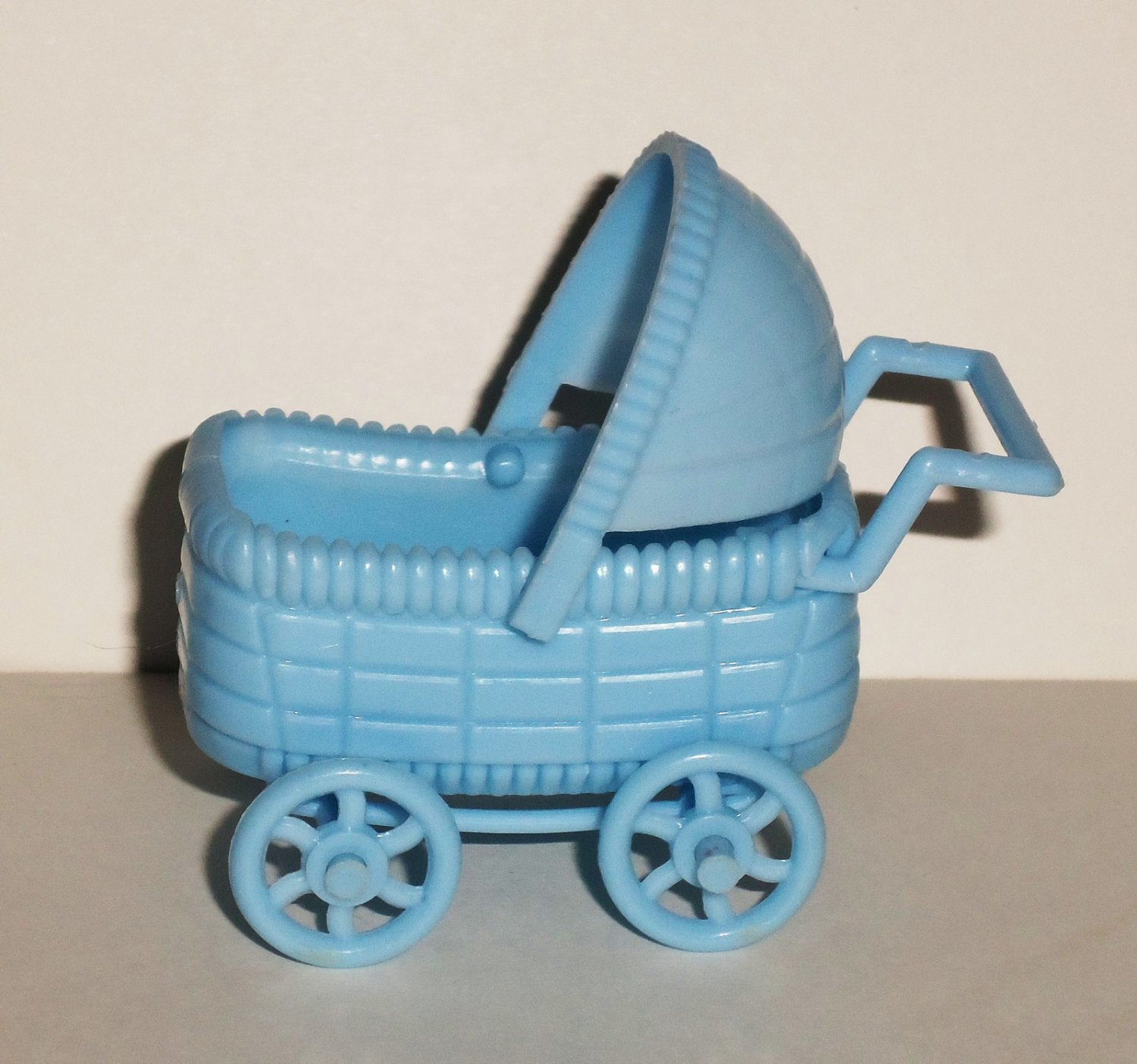 Dollhouse Blue Plastic Baby Carriage Loose Used