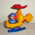 Fisher-Price #77980 Little People Chase 'n Race Helicopter Mattel 2001 Loose Used