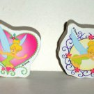 Disney Tinker Bell Lot of 2 Erasers Tinkerbell Peter Pan Loose Used