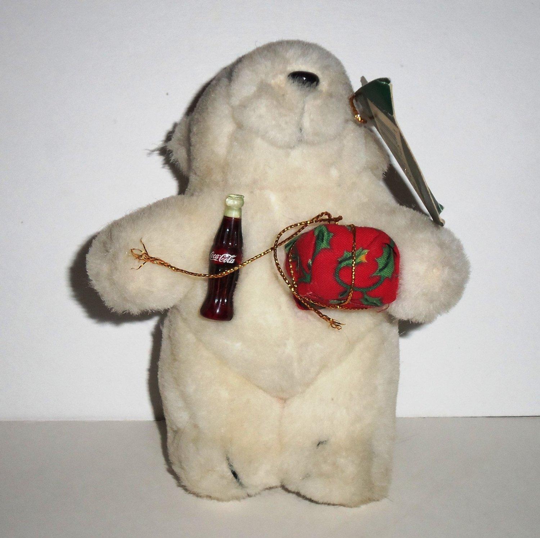 """Coca-Cola Polar Bear Plush Ornament 5 1/2"""" Coke"""