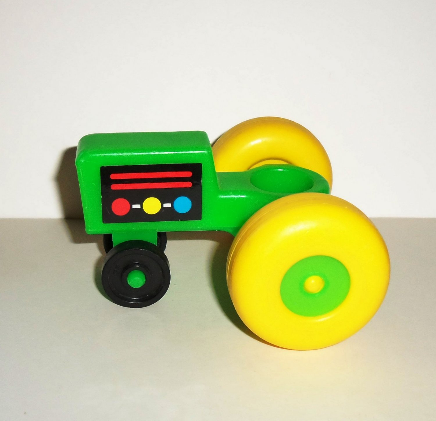 Vintage Fisher-Price Little People Green Tractor Yellow Wheels Litho Style B Loose Used