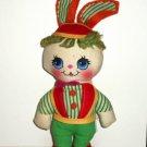 Vintage Knickerbocker Mini Easter Rag Doll Bunny Rabbit Stuffed Animal Toy Loose Used
