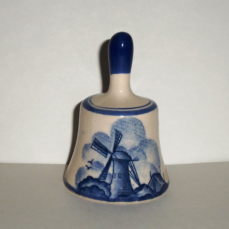Blue Windmill Design Porcelain Bell Loose Used