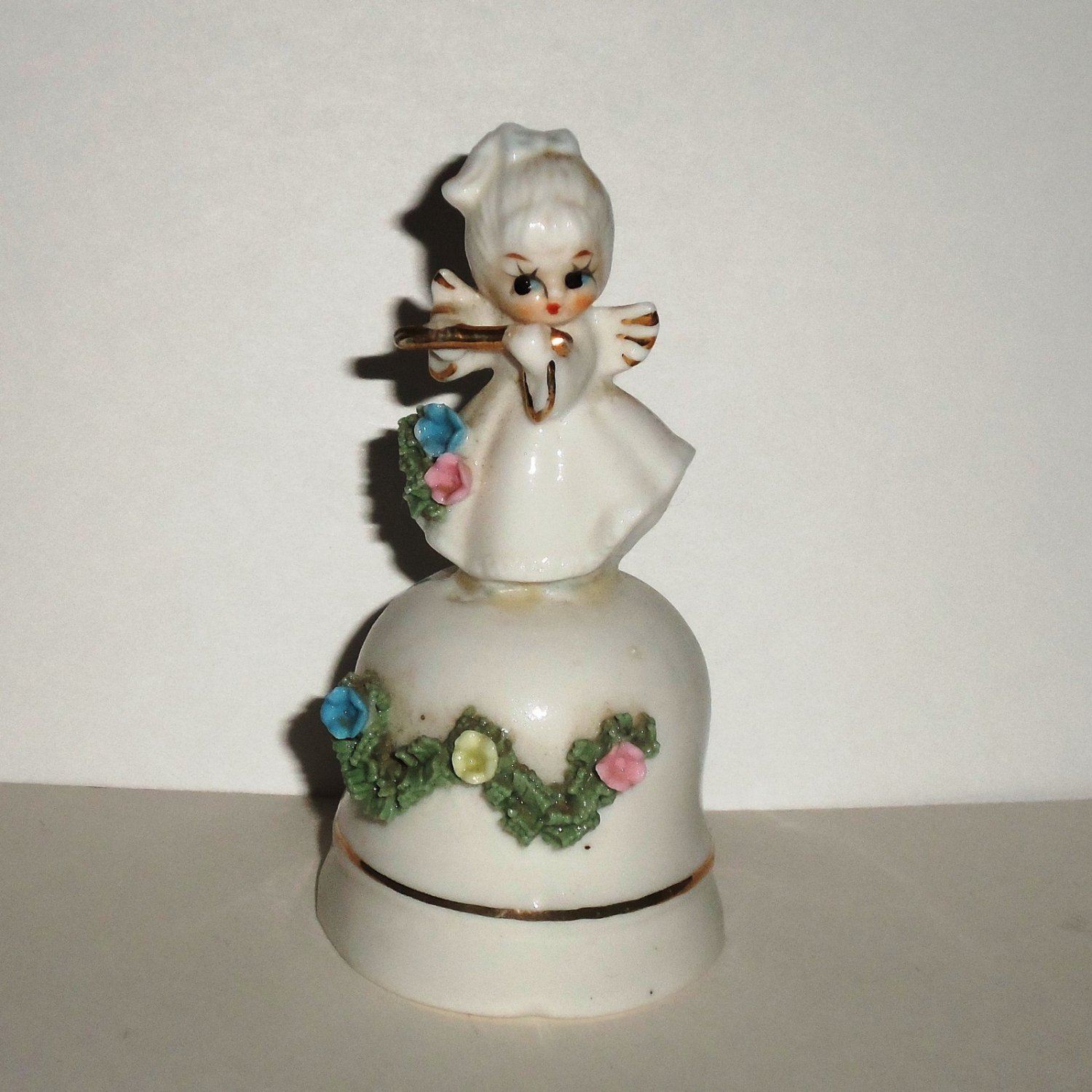 Angel Playing Flute Porcelain Bell Loose Used
