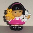 Fisher-Price Little People Sonya Lee Girl Holding Kitten Puppy Figure Mattel 2007 Loose