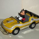 Disney Mickey Mouse Pullback Toy Race Car Yellow #45 Metal & Plastic Loose Used
