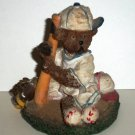 K's Collection Baseball Player Teddy Bear Ceramic Figurine Loose Used