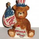 USA Patriotic Bear with Flag Ceramic Figurine Uncle Sam Loose Used