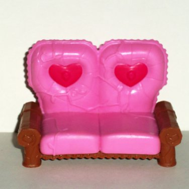 Pink Love Seat w/ Hearts PVC Plastic Dollhouse Accessory Loose Used