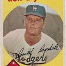 1959 Topps Baseball Card #387 Don Drysdale Los Angeles Dodgers Fair