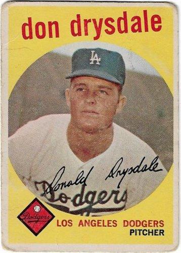 1959 Topps Baseball Card #387 Don Drysdale Los Angeles Dodgers Fair