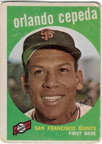 1959 Topps Baseball Card #390 Orlando Cepeda San Francisco Giants Poor