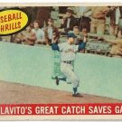 1959 Topps Baseball Card #462 Rocky Colavito Baseball Thrills Great Catch Cleveland Indians Good