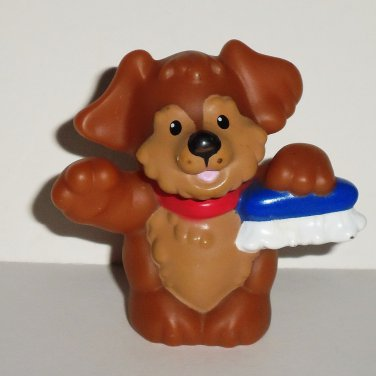 Fisher-Price Little People Brown Dog w/ Scrub Brush Figure Mattel 2007 Loose Used
