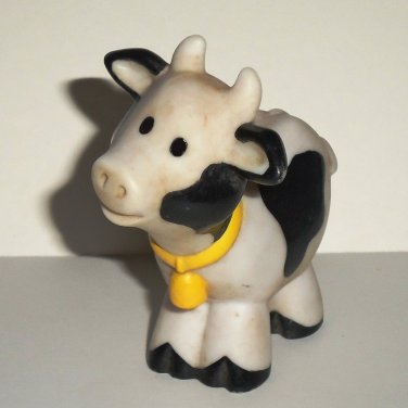 Fisher-Price Little People White Cow w/ Black Spots from 2590 Farm ChunkyLoose Used