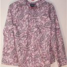 CHAPS WOMEN'S PLUS SIZE 2X BLOUSE PINK & BLACK PAISLEY 100% COTTON LONG SLEEVES
