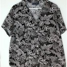 GLORIA VANDERBILT WOMEN'S PLUS SIZE 1X BLACK/MULTI-COLOR SHIRT/TOP FLORAL CASUAL