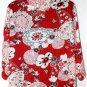 GLORIA LANCE WOMEN'S PLUS SZ 1X  2-IN-1 BLOUSE RED-BLACK-WHITE FLORAL NWOT
