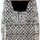 WOMEN'S PLUS SIZE 1X BLACK & WHITE TUNIC LACE BLOUSE  FLORAL/WHIMSICAL by INC
