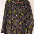 MAINSTREET BLUES WOMEN'S PLUS SIZE 1X BLUE & MULTI BUTTON UP SHIRT WHIMSICAL