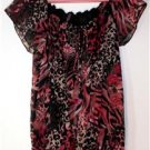 JUDITH WOMENS PLUS 1X BLACK & RED PRINT TOP LEOPARD & ZEBRA  PRINT HOT!